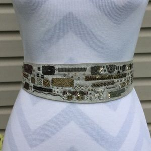 Silver Suede Beaded Sequin Tie Belt